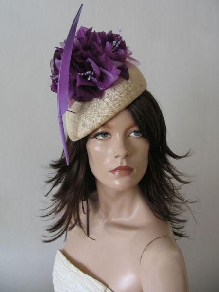 "Ultra Violet Purple Beret Headpiece ""Soph"" Habutai Silk Flower Feather Hat Kentucy Derby Fascinator"